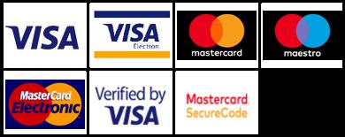 Obsługiwane karty płatnicze: Visa, Visa Electron, Mastercard, Maestro, Mastercard Electronic, Verified by VISA, Mastercard SecureCode